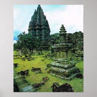 L Indonésie vintage Java temple hindou de Pramba Affiches