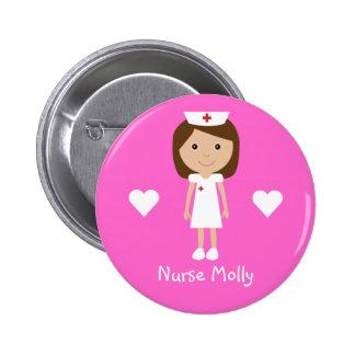 L infirmière et les coeurs mignons de bande dessin badges