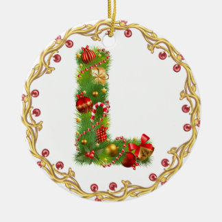 l initial ornement décoré d'un monogramme de Noël