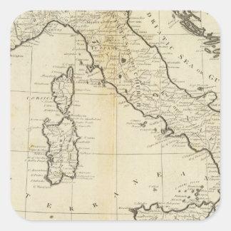 L Italie et la Sardaigne Autocollants Carrés