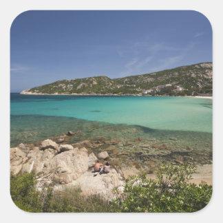 L Italie Sardaigne Baja Sardaigne Plage de stat Sticker Carré