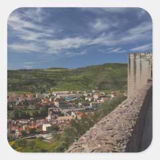 L Italie Sardaigne Bosa Vue de ville de Castell Stickers Carrés