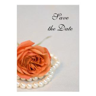 L orange rose et les perles sauvent le faire-part