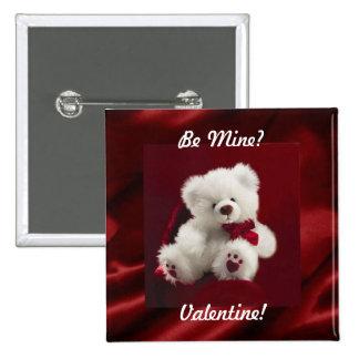 L ours blanc rouge de satin soit bout de bouton de badge avec épingle