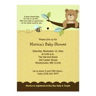 L ours de miel et gaffent l invitation de baby sho