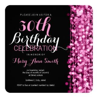 La 30ème fête d'anniversaire élégante miroite rose carton d'invitation  13,33 cm