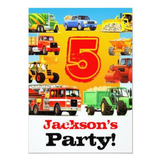 La 5ème construction d'anniversaire de garçons carton d'invitation  12,7 cm x 17,78 cm