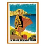 """""""La affiche vintage de voyage de De plage Calvi"""" Carte Postale"""