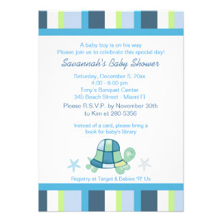 La baie de tortue barre l invitation de baby showe
