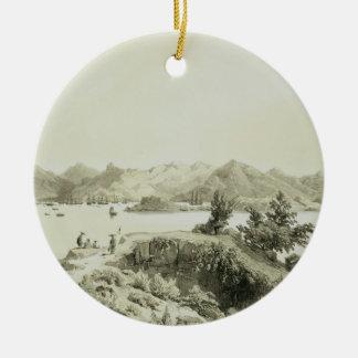 La baie et l'île de Hong Kong, plaquent 4 de 'Ske Ornement Rond En Céramique