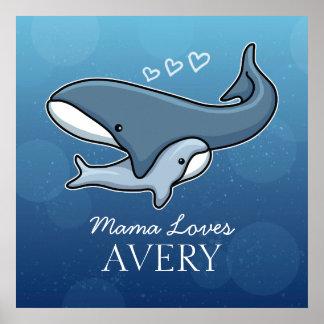 La baleine mignonne personnalisée de bébé de poster