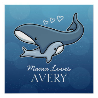 La baleine mignonne personnalisée de bébé de posters