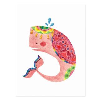 La baleine rose heureuse carte postale