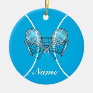 La balle de tennis bleue | personnalisent ornement rond en céramique