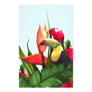 La banane tropicale de toucan part du bouquet papeterie