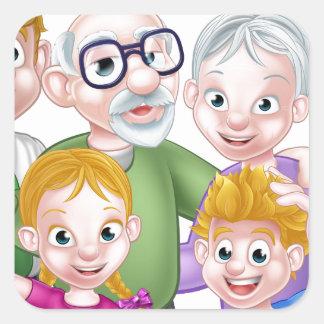 La bande dessinée badine des parents et des sticker carré