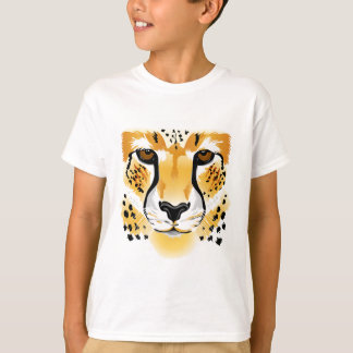 La bande dessinée de visage de guépard badine la t-shirt