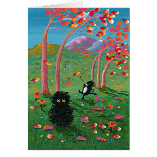 La bande dessinée drôle de chats d'automne part