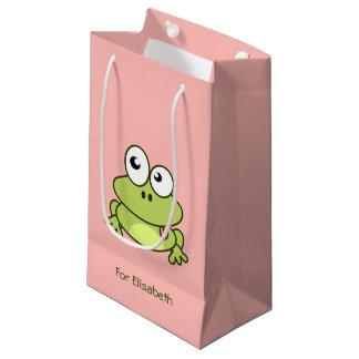 La bande dessinée mignonne drôle de grenouille petit sac cadeau