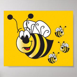 La bande dessinée mignonne gaffent des abeilles poster