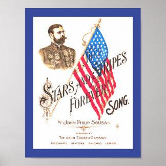 La bannière étoilée vintage de musique de feuille posters