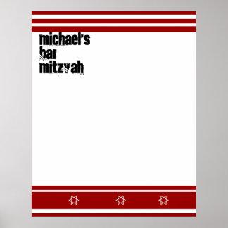 La barre sportive Mitzvah signent dedans le blanc  Posters
