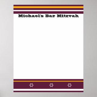 La barre sportive Mitzvah signent dedans le Poster