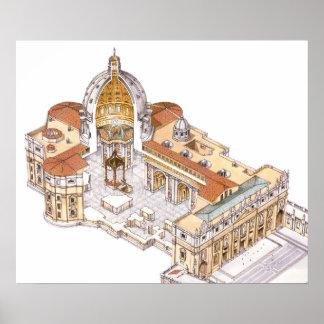 La basilique de St Peter. Ville du Vatican Rome. Poster