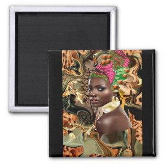 La beauté d'une fleur africaine de jungle magnet carré