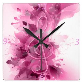 La belle éclaboussure rose de cool de gris fleurit horloge carrée