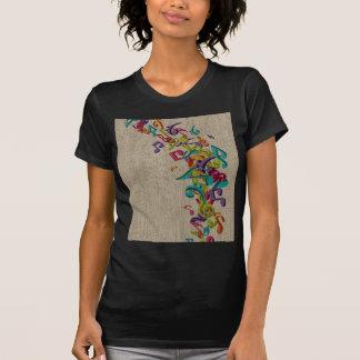 La belle musique de texture de toile de jute note t-shirts