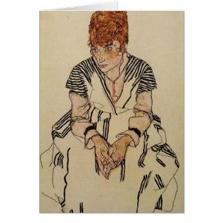 La belle-soeur de l'artiste d'Egon Schiele- Carte De Vœux