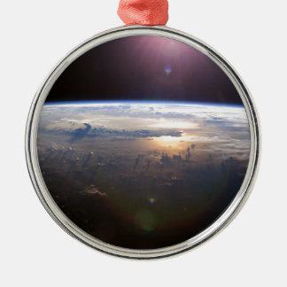 La belle terre Yuri Gagarin Ornement Rond Argenté