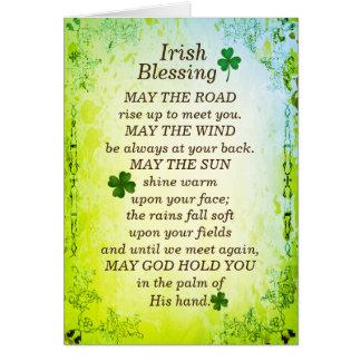 La bénédiction irlandaise, mai la route montent carte de vœux