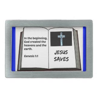 """La bible """"Jésus épargne"""" la série : 1:1 de genèse Boucles De Ceinture Rectangulaires"""