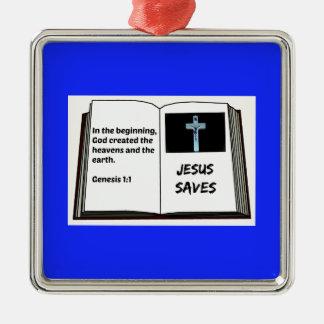 """La bible """"Jésus épargne"""" la série : 1:1 de genèse Ornement Carré Argenté"""