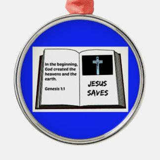 """La bible """"Jésus épargne"""" la série : 1:1 de genèse Ornement Rond Argenté"""