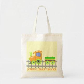 La bibliothèque orange de train réserve le sac fou