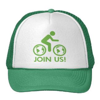 La bicyclette réutilisent le vert se joignent casquette de camionneur