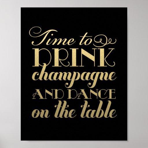 La boisson Champagne et dansent le signe l'épousan Posters