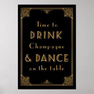 La BOISSON et la DANSE Gatsby ont inspiré le signe Poster