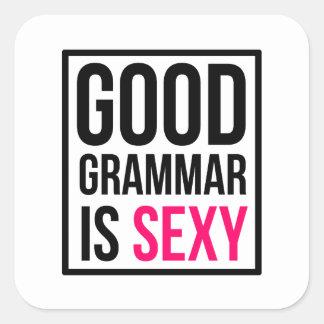 La bonne grammaire est sexy sticker carré