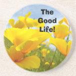 La bonne vie ! fleurs oranges de pavot de caboteur dessous de verre