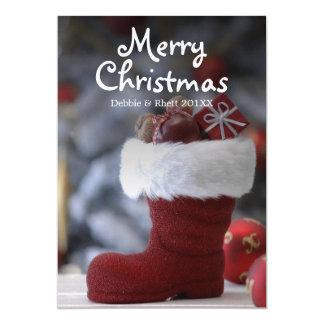 La botte de Père Noël avec des présents Carton D'invitation 12,7 Cm X 17,78 Cm