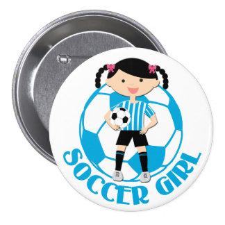 La boule de la fille 2 du football bleue et le badge