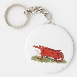 La brouette rouge porte-clé rond