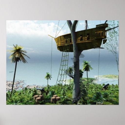 La cabane dans un arbre de pirate affiches zazzle for Acheter cabane dans les arbres