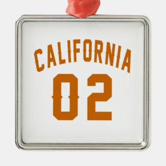 La Californie 02 conceptions d'anniversaire Ornement Carré Argenté