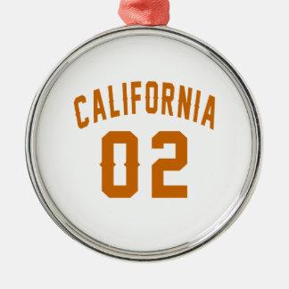 La Californie 02 conceptions d'anniversaire Ornement Rond Argenté