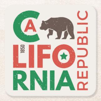 La Californie avec le logo d'ours gris Dessous-de-verre Carré En Papier